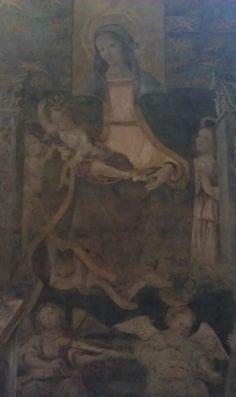 Gandolfino da Roreto (attr.), #Madonna del Baldacchino, fine sec. XV/inizio sec. XVI, #affresco strappato proveniente dal fronte sud della sacrestia della #Cattedrale di #Asti San Giovanni, Madonna, Four Square, Painting, Art, Saints, Museums, Craft Art, Paintings