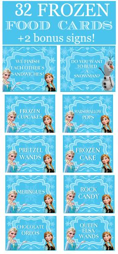 Frozen Party Food Cards & Bonus Signs!