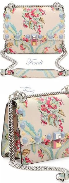 Brilliant Luxury♦Fendi Candy Colours Spring 2017♦Kan I Mini Aubusson-Print Chain Shoulder Bag