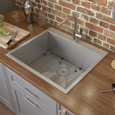 Drop In Sink, Single Bowl Kitchen Sink, Stainless Steel Kitchen, Brushed Stainless Steel, Drain Cover, Base Cabinets, Kitchen Appliances, Kitchen Sinks, Kitchens