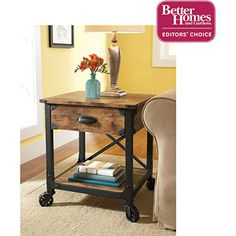 Wal-Mart $73 Better Homes and Gardens Rustic Country Side Table, Antiqued Black/Pine