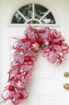 Candy Cane Deco Mesh Wreath by ViennaSparkleWreaths on Etsy