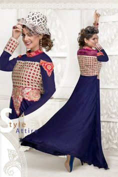 Beautiful Royal Blue Georgette Party Wear Gown