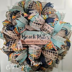 Your place to buy and sell all things handmade Wreaths For Front Door, Door Wreaths, Rag Wreaths, Beach Wreaths, Front Porch, Beach Rules, Unique Housewarming Gifts, Summer Wreath, Beach Themes
