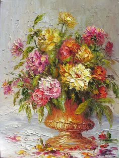 Rose Beauty 18 x 24 Original Oil Painting Palette Knife Vase Bouquet Textured Colorful Rosees Pink Vase Bouquet by Marchella