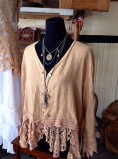 Luv Lucy Linen and lace crop jacket boho gypsy by LuvLucyArtToWear, $175.00