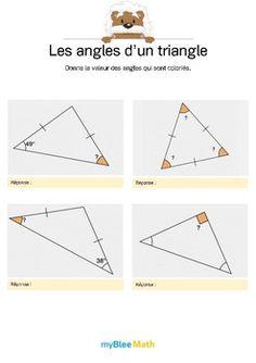 Le but de l'exercice est de donner la valeur d'un angle dans un triangle (isocèle, rectangle ou équilatéral) en s'aidant des valeurs déjà présentes sur le dessin. Catégorie : Géométrie Module : Les angles d'un triangle Application téléchargeable sur