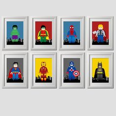 superhero wall art prints, super hero wall art prints, superhero wall decor, super hero wall art, set of 8 (8x10) inch, shipped to your door by AmysDesignShoppe on Etsy https://www.etsy.com/listing/280003254/superhero-wall-art-prints-super-hero