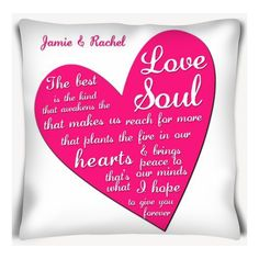 Heart Cushion  This beautiful personalised cushion makes a perfect gift for Valentine's Day. 16x16 inch cushion with the infill included. Handwash only