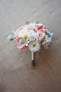 Bride's Felt Flower Wedding Bouquet / Choose Your by LeaphBoutique