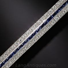 Art Deco Diamond and Synthetic Sapphire Bracelet. Calssic and timeless 1920s to 30s glamour is embodied in this finely hand-crafted Art Deco platinum bracelet, with glowing calibre-cut royal blue synthetic sapphires (an exciting innovation at the time,) flanked by 4 carats of dazzling european-cut diamond