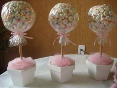 arvore de marshmallow Marshmallow Tree, Mesas Para Baby Shower, Candy Party, Cake, Desserts, Birthday, Crafts, Food, Polka Dots