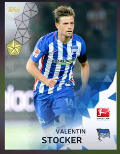 Valentin Stocker Hertha BSC (Bundesliga) Gold Parallel Card 2016 Topps KICK