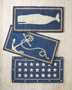 Our nautical hooked rugs in whale. anchor and starts are especially for those who hold the beach close to their heart. Whimsical accent rugs are hand-hooked from pure wool. Nautical Rugs, Nautical Kitchen, Nautical Theme Decor, Nautical Design, Nautical Home, Boat Decor, Beach House Decor, Coastal Style, Coastal Decor
