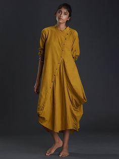 Mustard Cotton Buttoned Aakaar Dress Tunic Designs, Kurta Designs Women, Choli Dress, Frock Fashion, Kurti Designs Party Wear, Dress Indian Style, Indian Designer Outfits, African Fashion Dresses, Couture