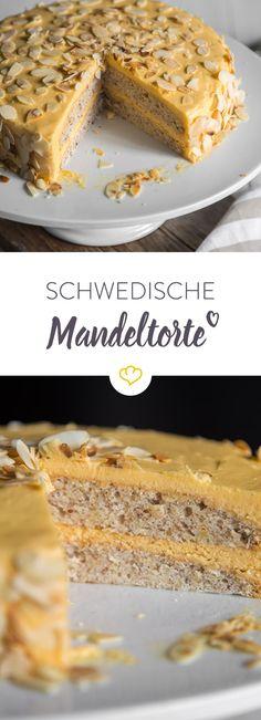 Auf das Wesentliche kommt es an: Diese klassische schwedische Mandeltorte mit luftigem Mandelboden und Vanillecreme kommt ohne viel Schnickschnack aus.