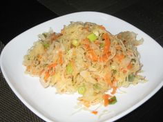 """This is my personal favorite ! Mixed """"Shchi"""" (Russian soup with cabbage) with sauerkraut. Sauerkraut Salad Recipe, Salad Recipes, Vegan Recipes, Fermented Cabbage, Polish Recipes, Polish Food, Apple Salad, Cabbage Soup, Vegane Rezepte"""