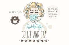 #artilike  #Coffee and #Tea Clip Art Set 38 Images in Color by rachelwhitetoo