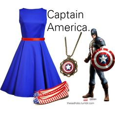 """Captain American inspired fashion!"" by erfquake on Polyvore"