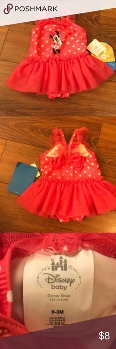 Super cute Disney Swimsuit Brand new with tags Minnie Mouse swimsuit in size 0-3 months. Disney Swim One Piece