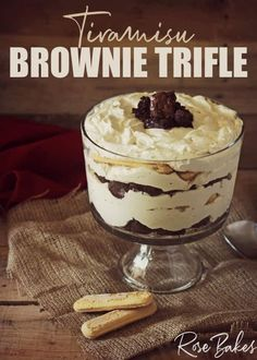 This Tiramisu Brownie Trifle is simply scrumptious - layers of chunky brownie, whipped cream cheese filling, and coffee-soaked lady fingers!