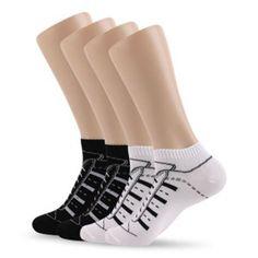 Men's Sneakers Pattern Black&White Fashion Anklet Socks 2Pairs, Free Size(US7~9) #DeamTree #AnkleSocks