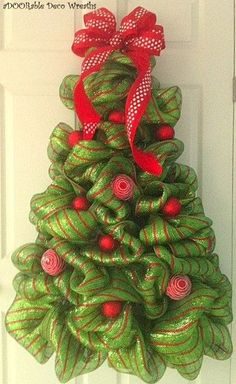Christmas Tree Wreath - Wreaths by Whitney.another idea! Christmas Tree Wreath, Noel Christmas, Holiday Wreaths, All Things Christmas, Winter Christmas, Christmas Decorations, Christmas Staircase, Xmas Trees, Burlap Christmas