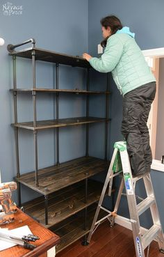 Of Pipe and Pine: DIY Industrial Bookcase - Home Professional Decoration Industrial Home Design, Industrial House, Industrial Pipe, Diy Industrial Shelf, Rustic Industrial Furniture, Industrial Lighting, Vintage Lighting, Modern Industrial, Diy Design