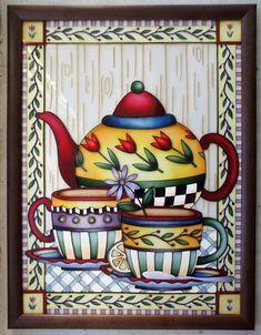 "Gallery.ru / ""Чаепитие. Тюльпановый чай"", 30*40 см. - Картины - enehi Decoupage Vintage, Decoupage Paper, Mosaic Glass, Glass Art, Printed Coffee Cups, Cafe Art, Pintura Country, Art Decor, Decoration"