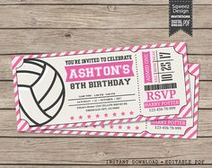 Volleyball Invitations Volleyball Birthday by SqweezDesign on Etsy