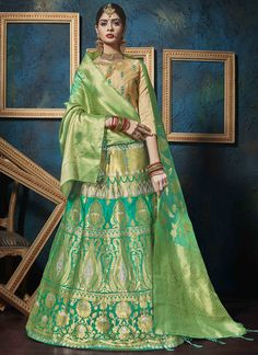 Rama green lehenga choli with dupatta. Fabric - Pure silk jacquard with can can net. Work - Weaving and resham work. The product can be customized up to Matching bottom and dupatta comes with this. Ghagra Choli, Bridal Lehenga Choli, Silk Lehenga, Anarkali, Plus Size Clothing Online, Indian Clothes Online, Bollywood Lehenga, Bollywood Dress, Choli Designs