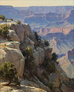 Clyde Aspevig (1951–Present) Overlooking the Grand Canyon  oil on canvas 40 x 32 in