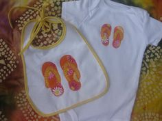 Beach Baby Gift Set with FlipFlops applique by OliveStreetStudio, $10.00