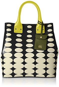 Product Features  Top-handle bag in oval pattern featuring small snap-flap pouch and gold-tone hardware feet