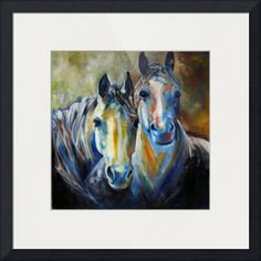 """KINDRED SOULS EQUINE"" by Marcia Baldwin, Shreveport, Louisiana // an Original oil painting by Marcia Baldwin, specializing in equine art.  The two horses are pasture buddies and are kindred souls. // Imagekind.com -- Buy stunning fine art prints, framed prints and canvas prints directly from independent working artists and photographers."