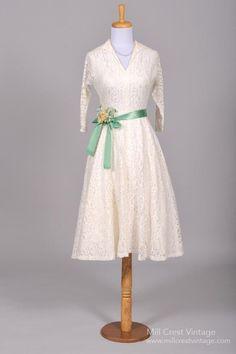 1950 Midi Lace Vintage Wedding Dress-Mill Crest Vintage