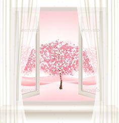 Pink Cherry Blossom Tree View from a Window by almoond Pink Cherry Blossom Tree View From A Window Vector If you need a layered PSD or any other file formats, write it in the comments o