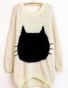 Women's Round Neck Long Cat Sleeve Bat Type Sweater
