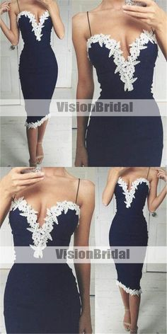Alluring Navy Blue Spaghetti Straps V-neck Mermaid Prom Dresses With Lace, Tea-Length Prom Dresses, VB0893 #promdress #promdresses #prom