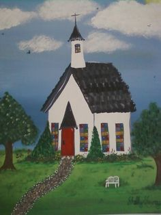 Origianl painting of The Little White Church by RuthEllensfc, $80.00