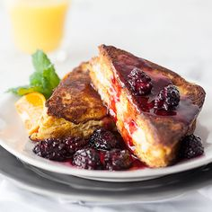 Orange-studded Mascarpone cheese is at the creamy center of this French toast, with a layer of fresh blackberries cooked in butter, sugar and another layer of orange flavor to create lush syrup. Orange Blackberry French Toast Makes 4 servings Ingredients: For the French toast: 4 slices Texas Toast 4 ouncesGet the Recipe