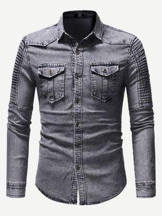 9dd56719a7b Men Shirred Detail Solid Denim Shirt