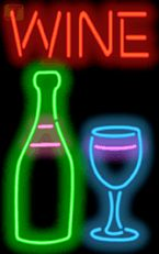 Wine with Wine Bottle and Glass Neon Sign | FL-40-04 | Jantec Neon