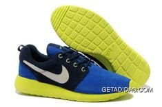 3da332034a62 Mens Nike Roshe Run Blue Black Green White Shoes TopDeals