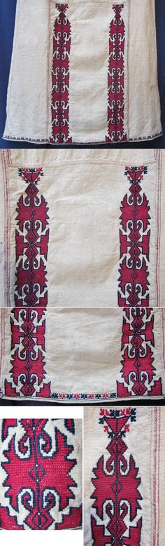 Lower part of the front of a  (cotton on cotton) embroidered 'göynek' (underdress for women), featuring an unusual design.    From the Mudurnu-Taraklı region (Bolu province), mid-20th century.  Ethnic group: Türkmen. (Inv.nr. gnk003 - Kavak Folklor Ekibi & Costume Collection-Antwerpen/Belgium).