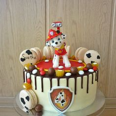 Cake Disney, One Tier Cake, Campfire Cake, Paw Patrol Cake Toppers, Fondant Cake Designs, Paw Patrol Birthday Cake, Animal Cakes, Valentine Cake, Birthday Cake Decorating
