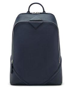 Duke Men's Napa Leather Medium Backpack, Navy