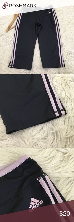 Adidas Pink & Grey Capri Athletic Track Pants Adidas Women's Medium Capri Track Pants • great for yoga, running and anything athletic • pink and grey • like new  Length: Waist flat: Inseam:  📌NO lowball offers 📌NO modeling 📌NO trades  Come check out the rest of my closet! I have various brands and ALL different sizes ❤️ adidas Pants Track Pants & Joggers