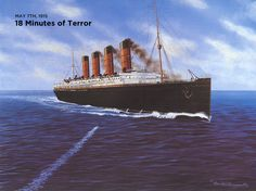 May A torpedo fired by the German submarine SMS streaks toward the Lusitania. No photographs exist of the sinking, only a series of portraits by Ken Marschall give us a look at the events of that tragic day. Titanic Ship, Rms Titanic, Titanic Model, Costa, German Submarines, Beyond The Sea, Boat Stuff, World War One, Interesting History