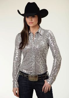 "Womens Western Show Shirt - ""Rebel Cat"" - From Roper: Stand out in this silver, leopard print, long-sleeve show shirt with 1-point yokes and pearl snaps."